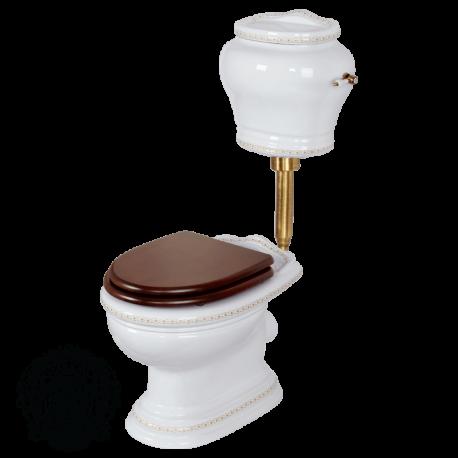 MILADY Унитаз напольный, выпуск в пол (без крышки), керамика с низким бачком с кнопкой