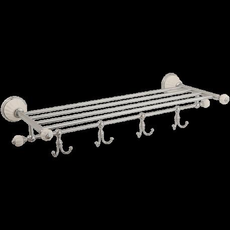 OLIVIA Полка-держатель для полотенец с 4-мя крючками, L60хH10xP30 см, керамика