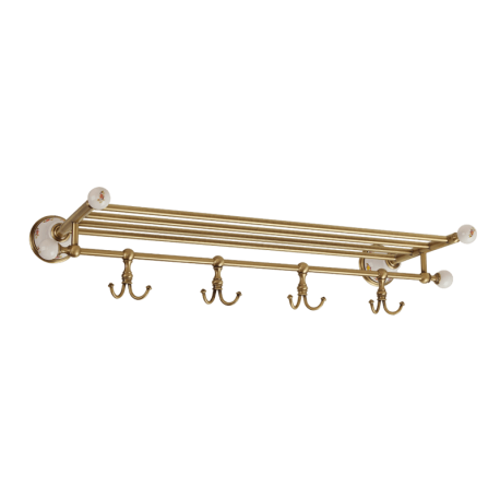 PROVANCE Полка-держатель для полотенец с 4-мя крючками, L60хH10xP30 см, кероамика с декором