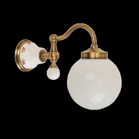 PROVANCE Светильник настенный, плафон шар стекло матовое/керамика с декором