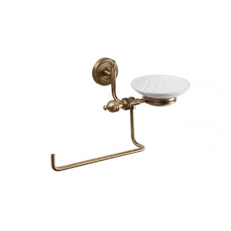 ROYAL полотенцедержатель поворотный с мыльницей, керамика/бронза