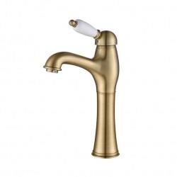 ADRIA–Uno смеситель для умывальника, с донным клапаном и подводкой, высокий бронза
