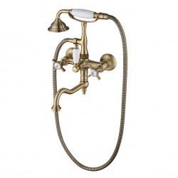 BRISTOL настенный смеситель для ванной с подставкой для лейки бронза