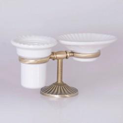 TW Retro Opal Двойной держатель мыльница+стакан керамический