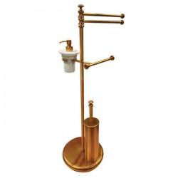 TW Harmony 004, стойка напольная, комбинированная: двойной п/держ, .керам.дозатор (белый), держатель т/б, ёршик