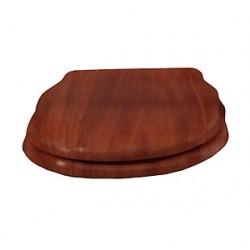 """Сидение деревянное """"орех"""" с механизмом Microlift, петли """"бронза""""."""