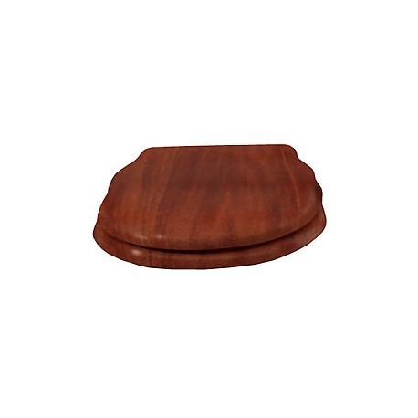 """Сидение деревянное """"орех"""" с механизмом Microlift, петли """"золото""""."""