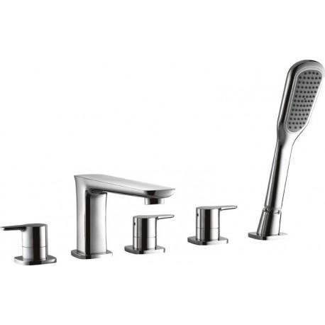 Смеситель на борт ванны с ручным выдвижным душем CEZARES TESORO-BVD5