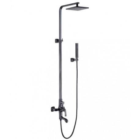 """Смеситель для ванны и душа с регулируемой высотой штанги, поворотным изливом и верхней душевой лейкой """"Тропический дождь"""""""