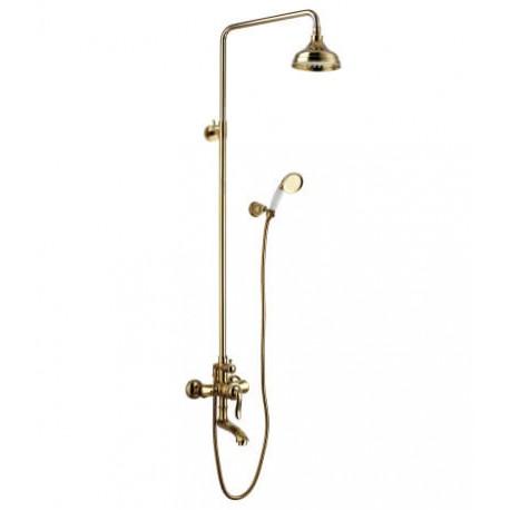 Смеситель для ванны и душа с регулируемой высотой штанги, поворотным изливом и верхней душевой лейкой