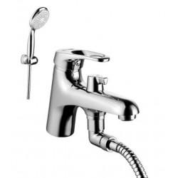 Смеситель на борт ванны, с коротким изливом, с аксессуарами, хром